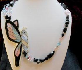Swarovski Crystal Necklace with Butterfly of Abalone Shell Inlay..