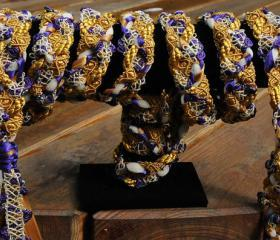 Handfasting cord in purple and gold, with satin ribbons and delicate trellis trim