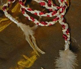 Handfasting cord in burgundy and gold, with cream tulle and feather embellishments