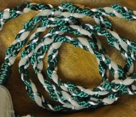 Handfasting cord in green and white, with cream tulle and gold highlights