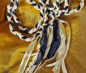 Handfasting cord in navy blue, cream and silver, with white pearl trim