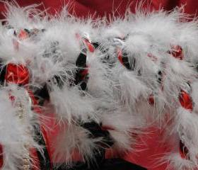 Handfasting cord in black, white and red, with marabou trim, white and red satins, organza and diamante trim