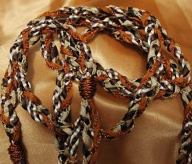 Handfasting cord in chocolate brown, cream, gold, bronze and burnt orange. Wire wrapped ends