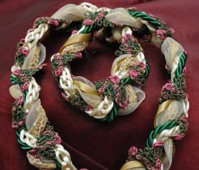 Handfasting cord in gold, cream and green satin and lace, with pretty green and pink floral braid