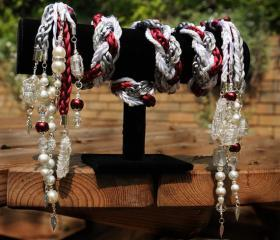 Handfasting cord in silver, white and burgundy satin, with pearls, swarovski crystals, wire wrapped beads and quartz