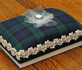 A5 Luxury Tartan gift box, with Blackwatch fabric lid, cream and gold trim and a rose and diamante cameo centrepiece.