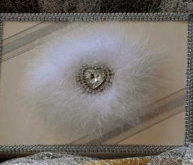 A5 Keepsake presentation gift box. Ivory coloured card box with feather and diamante centrepiece