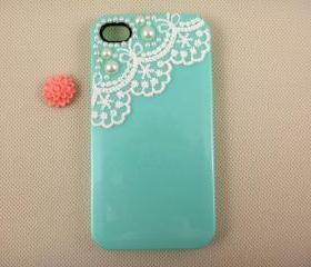 Hand made iPhone case iPhone covers, pearl lace iPhone 4 case, designer iPhone 4 cases