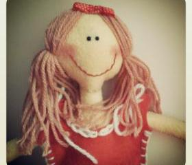 Lizzie - A Handmade Doll in Felt, Felt Doll, Handmade Doll