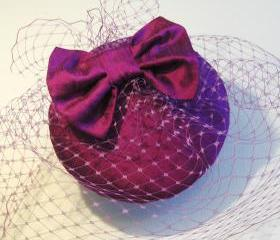 Magenta Silk Bow Veiled Cocktail Hat.