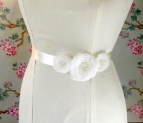 Ivory Organza Flowers Sash Belt.