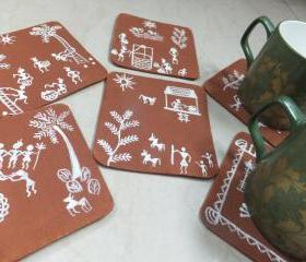 Warli Art Coaster Set of 6 in Ochre & Acrylic White
