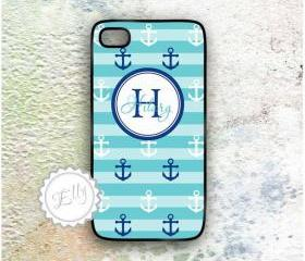 iphone 4 4S blue anchors case custom monogram or name