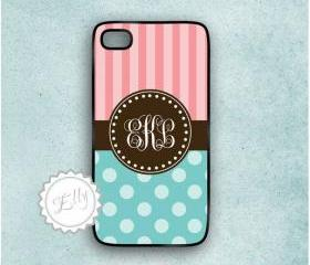 candy blue and coral iphone 4 case stripes polka dots hard cover