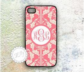 coral and cream iphone 4s in case monogrammed hard cover