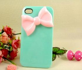 Unique pink bow iPhone case iPhone 4 covers, designer iPhone 4 cases, cute iPhone 4 cases, cases for iPhone 4