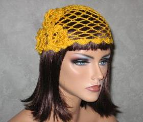 Handmade Crocheted Open Lace, Scalloped Edge, Cloche Cap -Golden Rod Yellow Size M