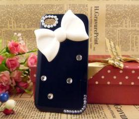 Unique white bow iPhone case iPhone 4 covers, designer iPhone 4 cases, cute iPhone 4 cases, cool iPhone case