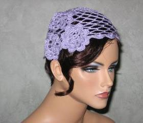 Handmade Crocheted Open Lace, Scalloped Edge, Cloche Cap -Lilac, Purple Size M