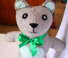 Vintage style Hug Bear soft toy: brown/grey and mint green **