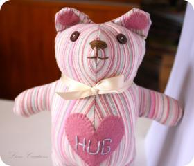 Icecream pink& grey striped Hug Bear soft toy **