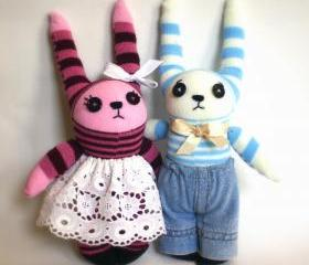 Couple of sweet little sock bunnies: pink/purple and blue/yellow