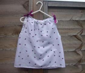 Toddler raspberry print dress/pinafore top