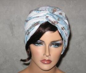 Handmade Twist Fashion Turban -Blue, White, Lace, Burnout