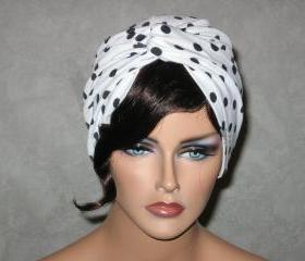 Handmade Twist Fashion Turban -White,Black, Polka Dot