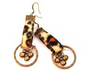 Wild Spots: Leopard Print Antique Brass Hoop Earrings with Bells
