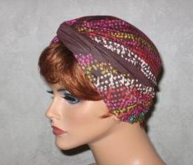 Handmade Twist Turban -Brown Multicolored Dot Waves