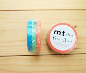 Japanese Masking Tape, Slim type, Peach Mint Sky