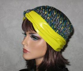 Handmade Twist Turban -Yellow, Teal, Multicolored Faux Leather & Jersey