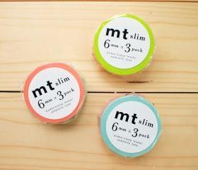 Japanese Masking Tape, 3 Slim set, Bright Color