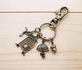 Charm Key Chain, Sweet Birdcage, Umbrella, little nut