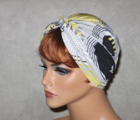 Handmade Twist Turban -Yellow,Black, Multicolored Circles
