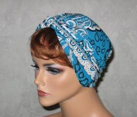 Handmade Twist Turban -White,Turquoise Blue, Peacock