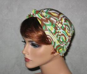 Handmade Twist Turban -Brown,Green, Yellow, Retro Fabric