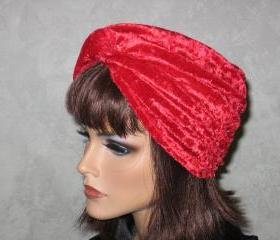 Twist Turban -Red Velour