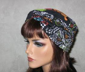 Handmade Twist Fashion Turban - Orange, Green Multicolored Dot