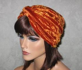Twist Turban -Burnt Orange Velour