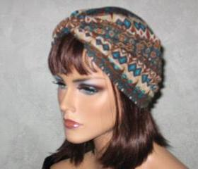 Handmade Twist Turban -Brown Abstract Size S