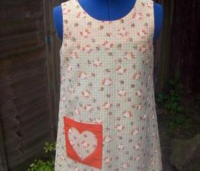 Orange gingham heart applique dress