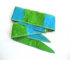 Womens Tie Headband Hair Wrap Boho Upcycled Patchwork Hippie in Caribbean Blue and Tropical Green