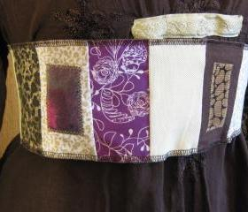 Pocket Belt Patchwork Obi Gypsy Tie Sash Women's Brown Beige Purple Festival Wear