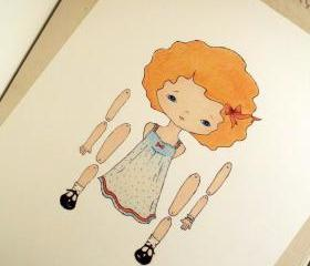 Tangerine - Articulated Paper Doll Print