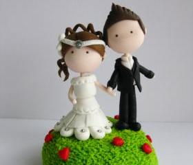 Wedding Clay Cake Topper - Garden of Love (Not Edible)