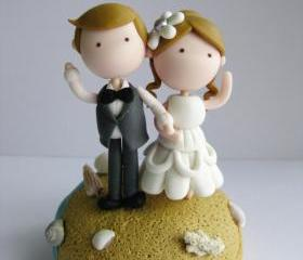 Wedding Clay Cake Topper - Beach Theme (Not Edible)