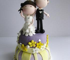 Wedding Clay Cake Topper - Standing on top of a cake (Not Edible)