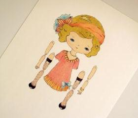 Olive - Articulated Paper Doll Print